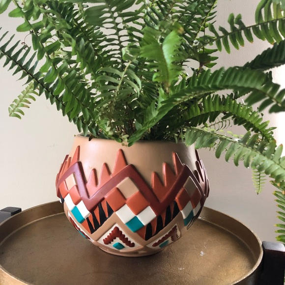 Other - Vintage 1980s Aztec Stucco Hand Painted Planter